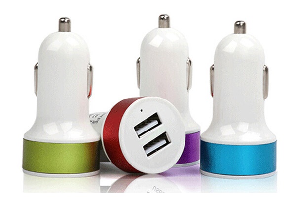 Mobile phone and tablet car charger with 2 usb ports