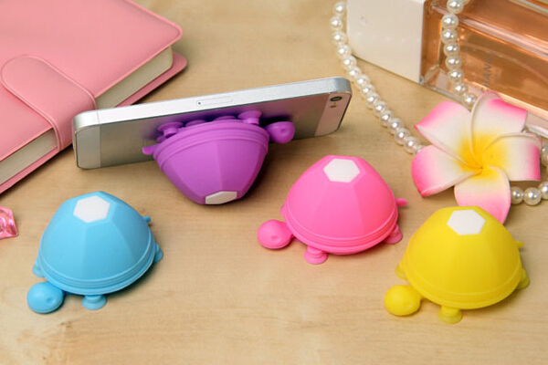 Silicone Tortoise mobile phone holder and cable tidy
