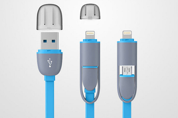 Popular 2 in 1 USB  cable for Apple and Samsung phones