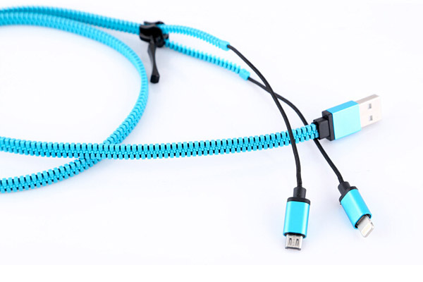 Zipper usb data cable for Apple and Samsung phones