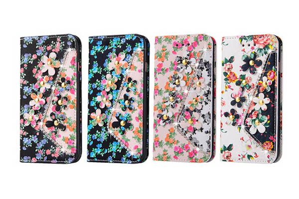 Samsung flower and diamond leather cover