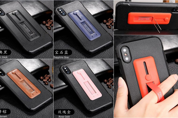 Leather skin TPU cover with flexible finger ring