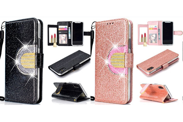 Bling wallet case with mirror