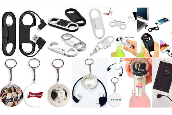 Bottle Opener&Keychain USB Cable for iPhones, Samsung and Type C