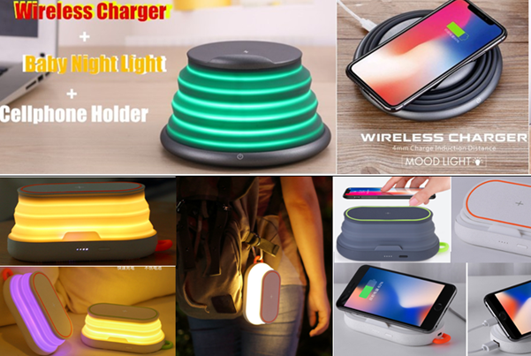 Wireless Charger With Night Light and Holder
